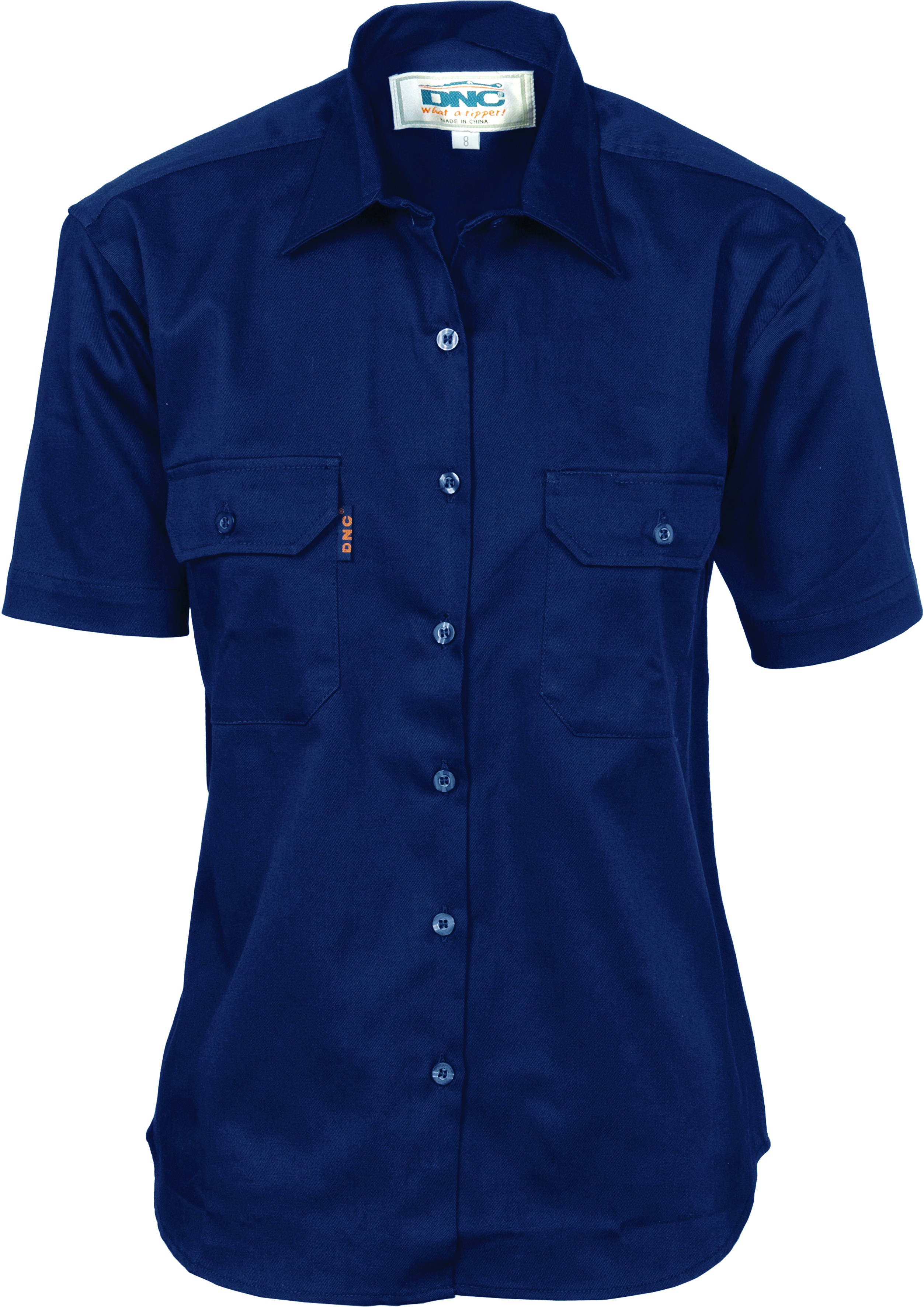 Ladies Cotton Drill Work Shirt - Short Sleeve