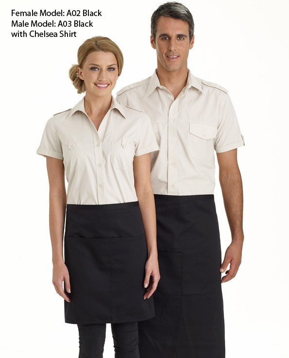 3/4 Plain Bistro Apron with Pocket - 5 Colours