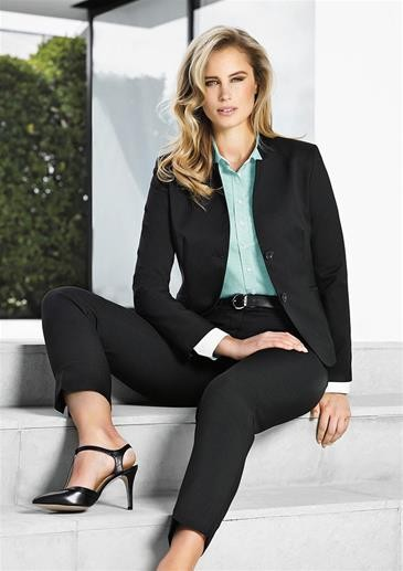 Short Stretch Jacket with Reverse Lapel