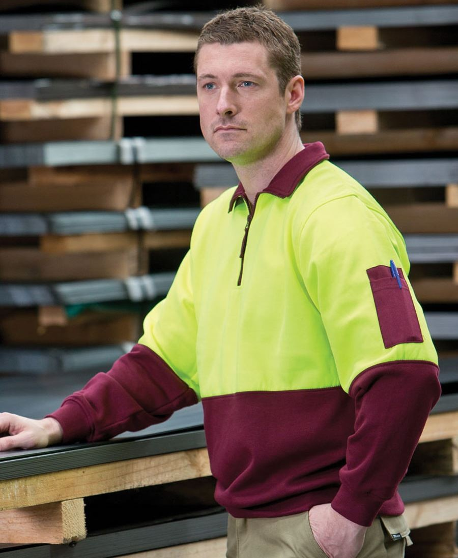 Hi Vis 1/2 Zip Fleecy Sweat