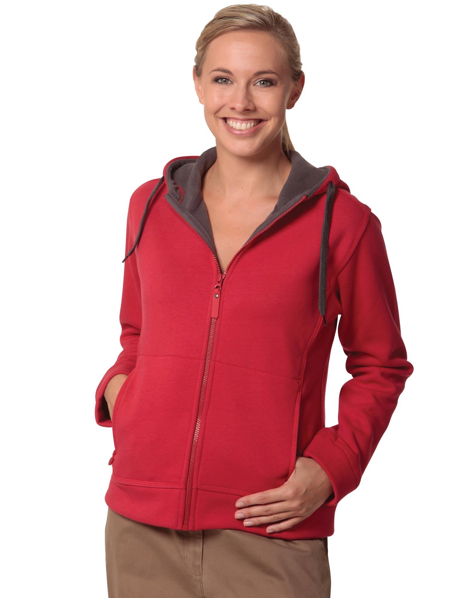 Ladies Full Zip Contrast Fleece Hoodie