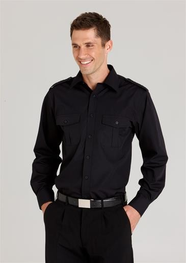 Mens Epaulette Long Sleeve Shirt