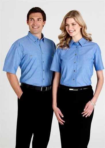 Mens Wrinkle Free Chambray Short Sleeve Shirt