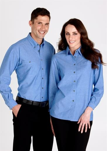 Mens Wrinkle Free Chambray Long Sleeve Shirt