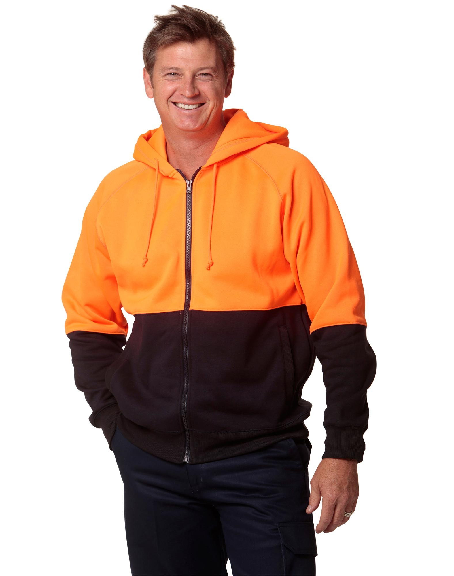Men's High Visibility Two Tone Fleecy Hoodie