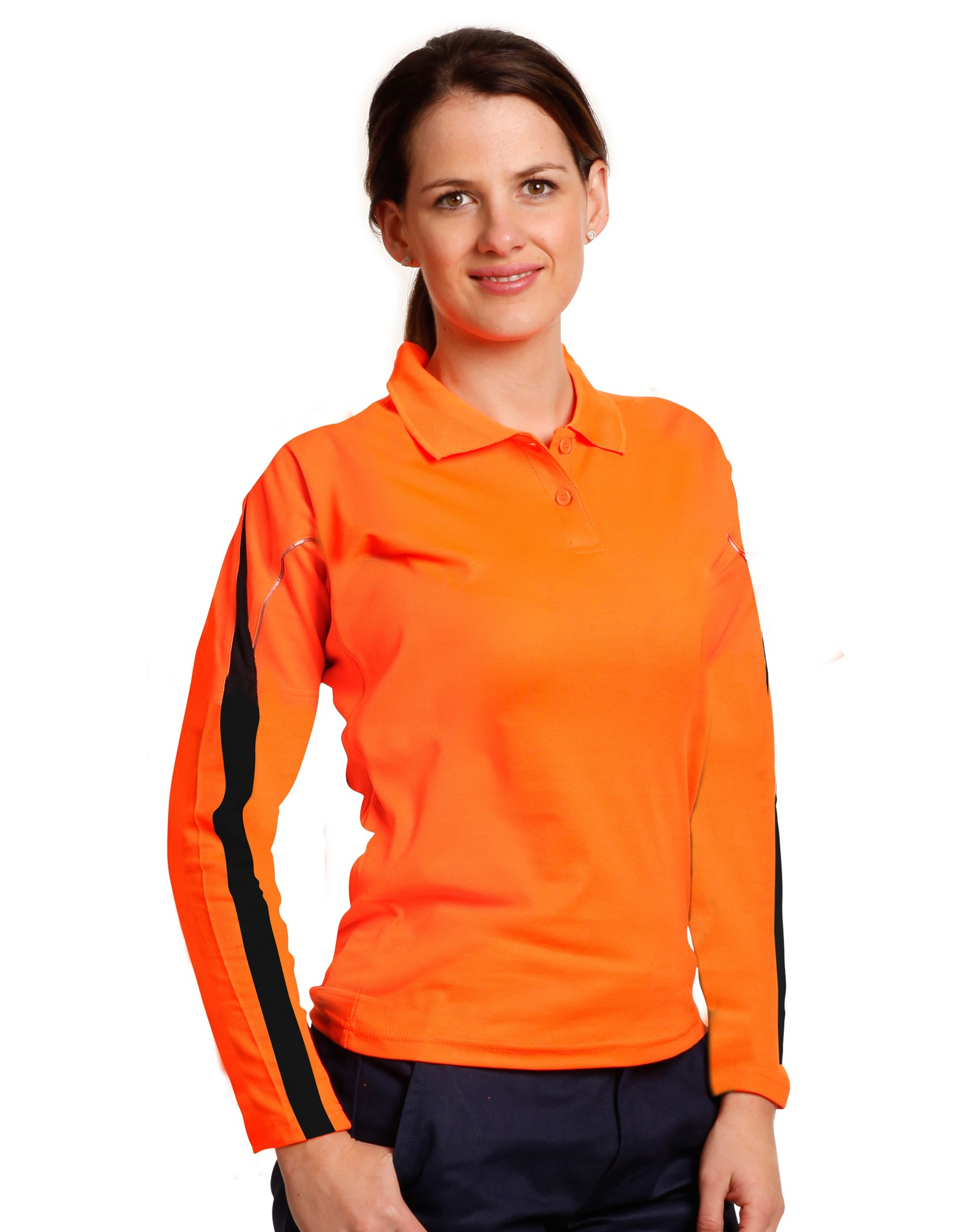 Ladies'  Hi-Vis Long Sleeve Polo with Reflective Piping
