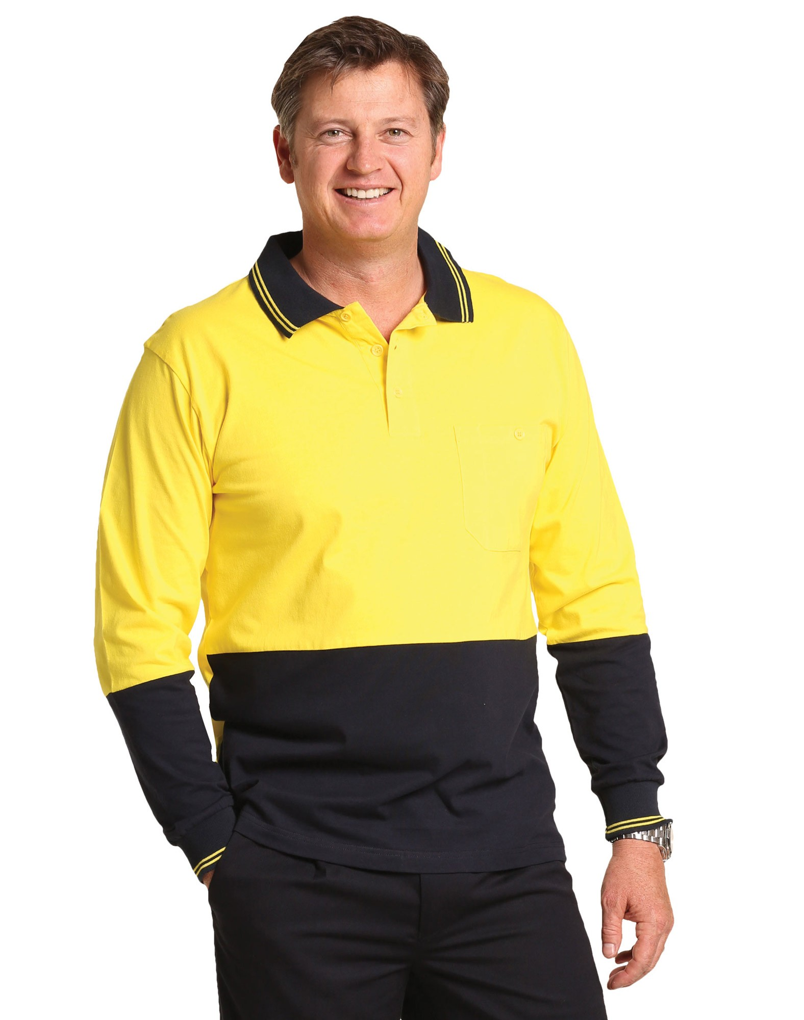 Cotton Jersey Long Sleeve Safety Polo