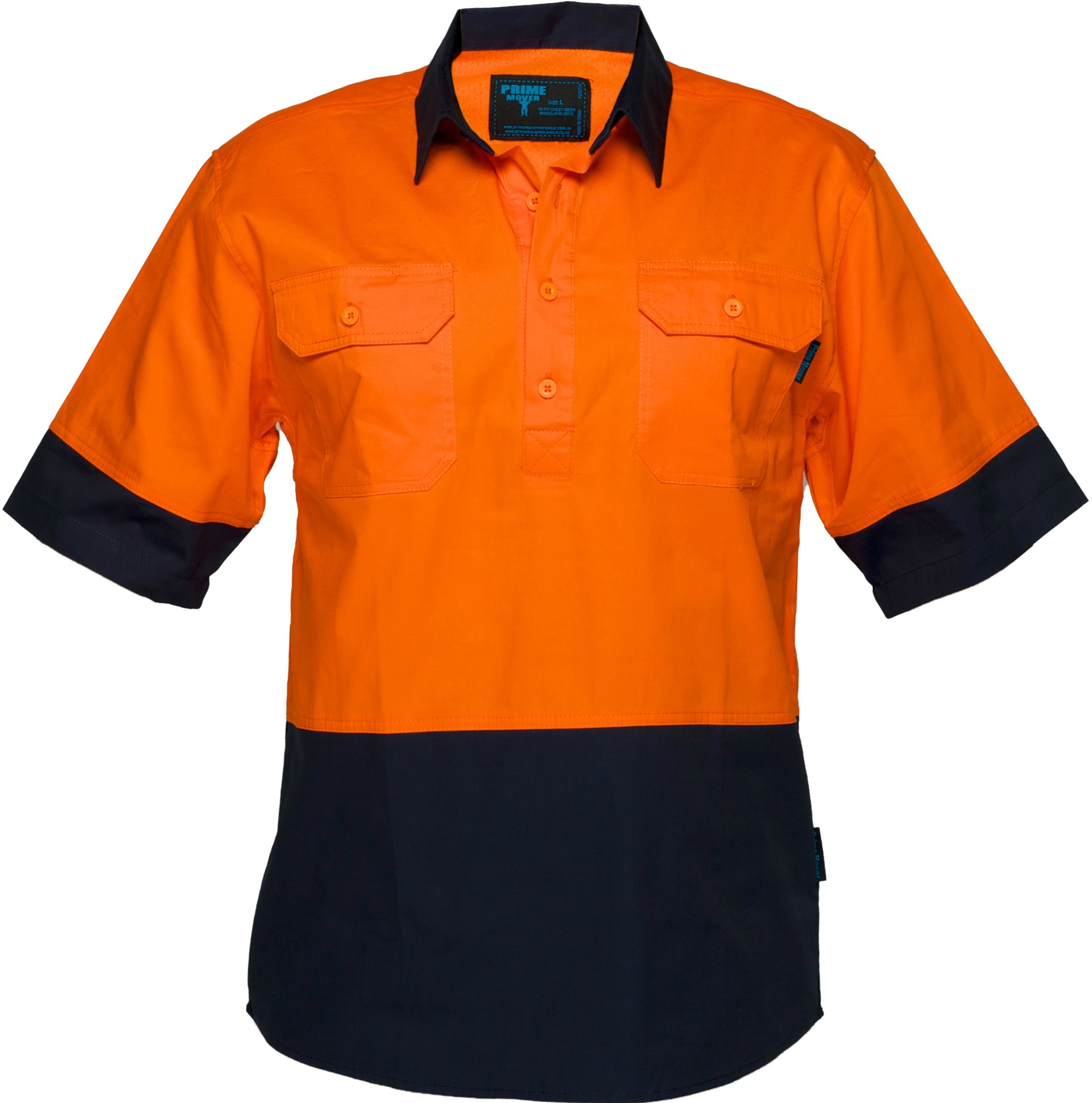 Hi vis cotton drill shirt 155gsm closed front for Hi vis t shirt printing