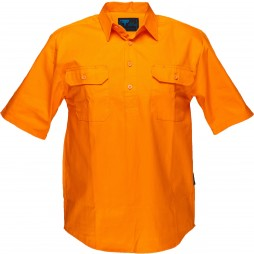 Hi Vis Cotton Drill Shirt 185gsm Closed Front