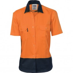 Ladies Hi Vis Cool-breeze Cotton Shirt - Short Sleeve
