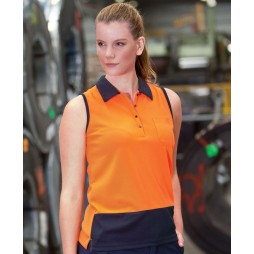 Ladies Hi Vis Sleeveless Polo