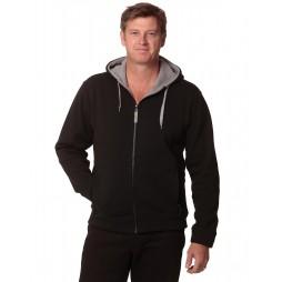 Mens Full Zip Contrast Fleece Hoodie