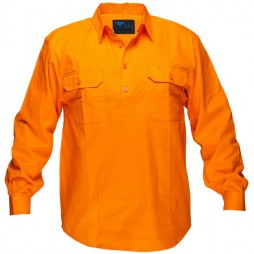 Solid Orange Regular Cotton Shirt 185gsm Closed Front
