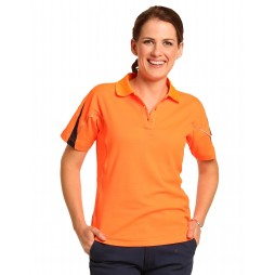 Ladies  Hi-vis Short Sleeve Polo With Reflective Piping
