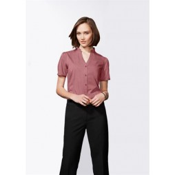 Ladies Chevron Stand Collar Shirt