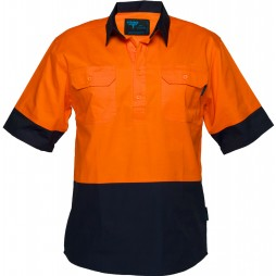 Hi Vis Cotton Drill Shirt 155gsm Closed Front